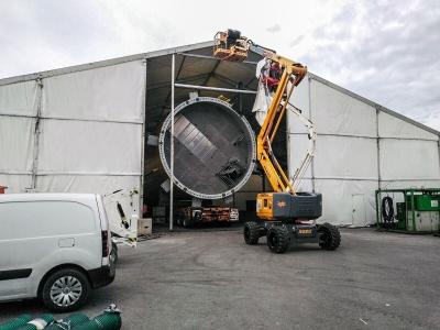 Carpa de 30 metros para fabricación y pintado de depósitos de gas | carpas industriales ARACARPAS